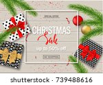 christmas sale poster with gift ... | Shutterstock .eps vector #739488616