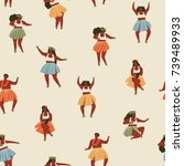 hawaii dance seamless pattern.... | Shutterstock .eps vector #739489933