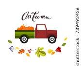 car with pumpkins  vector... | Shutterstock .eps vector #739492426