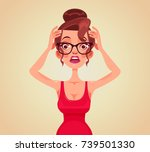 surprised woman character.... | Shutterstock .eps vector #739501330