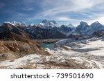 mount everest and gokyo lake... | Shutterstock . vector #739501690