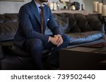 male model in a suit sitting... | Shutterstock . vector #739502440
