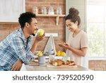 glad female makes sandwich ... | Shutterstock . vector #739520590