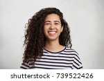 portriat of pretty curly female ... | Shutterstock . vector #739522426