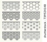 set of black seamless borders ... | Shutterstock .eps vector #739524148