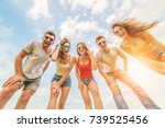 the five happy people look to... | Shutterstock . vector #739525456