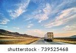 freight truck on open highway... | Shutterstock . vector #739525468