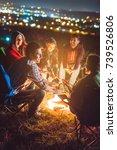 the happy people warming hands... | Shutterstock . vector #739526806