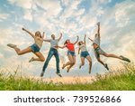 the happy people jumping on the ...   Shutterstock . vector #739526866