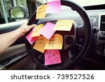 steering wheel covered in notes ...   Shutterstock . vector #739527526