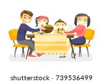 cheerful multiethnic family... | Shutterstock .eps vector #739536499