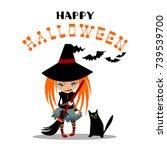 halloween poster or greeting... | Shutterstock .eps vector #739539700