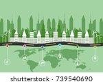 green eco city. paper art. ... | Shutterstock .eps vector #739540690