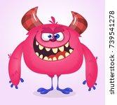 happy cool cartoon fat monster. ...   Shutterstock .eps vector #739541278