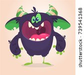 angry cartoon black monster.... | Shutterstock .eps vector #739541368