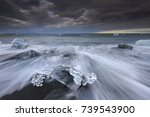 north atlantic ocean ice on the ... | Shutterstock . vector #739543900