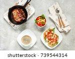 delicious italian bruschetta... | Shutterstock . vector #739544314