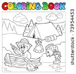 coloring book with scout in... | Shutterstock .eps vector #73954453