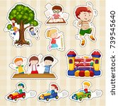 sticker set for children... | Shutterstock .eps vector #739545640