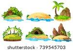 Six views of islands on white background illustration
