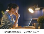 casual beautiful woman working... | Shutterstock . vector #739547674