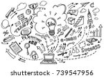 creative art doodles hand drawn ... | Shutterstock .eps vector #739547956