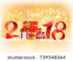 new year background with a 2018 ... | Shutterstock .eps vector #739548364