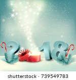 merry christmas background with ... | Shutterstock .eps vector #739549783