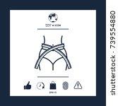 women waist with measuring tape ... | Shutterstock .eps vector #739554880