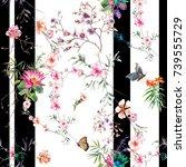 Stock photo watercolor painting of leaf and flowers seamless pattern on white background 739555729