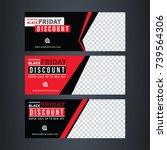 black and red banner design.... | Shutterstock .eps vector #739564306