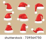 santa claus hat set. collection ... | Shutterstock .eps vector #739564750