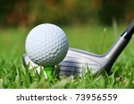 Macro shot of a golf club ready to drive the ball - stock photo