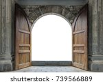 large wooden door open in rock... | Shutterstock . vector #739566889