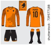 long sleeve soccer jersey or... | Shutterstock .eps vector #739577188