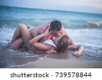 erotic couple kissing at the... | Shutterstock . vector #739578844