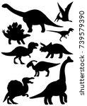 dinosaur silhouette set | Shutterstock .eps vector #739579390
