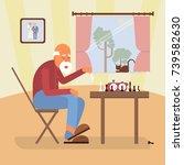 retired age alone man in flat... | Shutterstock .eps vector #739582630