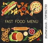 fast food menu restaurant... | Shutterstock .eps vector #739582750