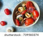 Top View Of Sauteed Mushrooms...
