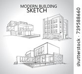 sketch of  house architecture ... | Shutterstock .eps vector #739588660