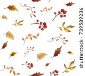 seamless pattern of autumn fall ... | Shutterstock .eps vector #739589236