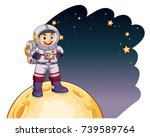 astronaut standing on the moon... | Shutterstock .eps vector #739589764