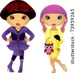 2 different ladies dressed up... | Shutterstock .eps vector #73959265