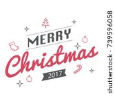 merry christmas text design for ... | Shutterstock .eps vector #739596058