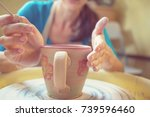 potter at work. instagram... | Shutterstock . vector #739596460