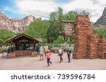 springdale  utah  july 24  2017 ... | Shutterstock . vector #739596784
