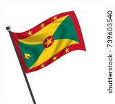 waving flag of grenada. grenada ... | Shutterstock .eps vector #739603540