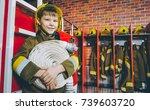 child firefighter play | Shutterstock . vector #739603720