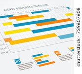 gantt progress line business... | Shutterstock .eps vector #739607608
